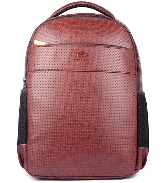 The Clownfish Synthetic 31 Ltr Brown-Black Laptop Backpack