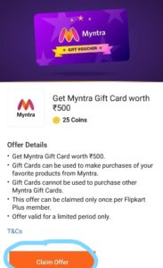 Claim Offer Myntra Flipkart Plus