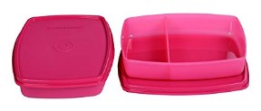 Signoraware Small Slim Lunch Box Set, 340ml, Set of 2, Pink
