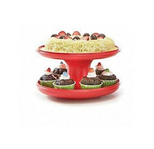 Tupperware Serve-It-All Pedestal Cake Pie Serving Stand Red