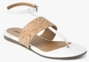Lavie Brown Synthetic T-Strap Flats
