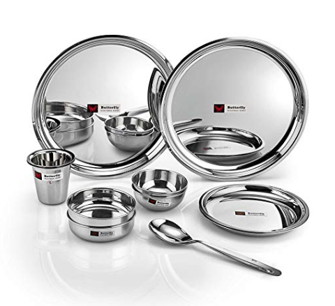 Butterfly Stainless Steel Tiffin Set, 14-Pieces, Silver