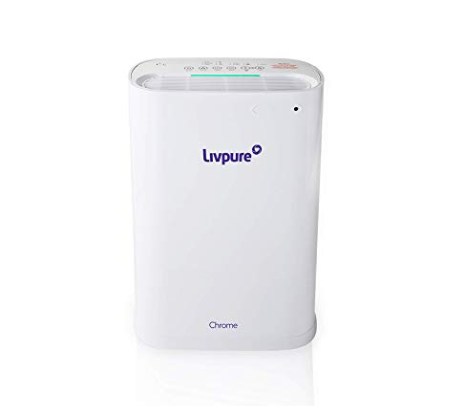 Livpure Chrome 40-Watt Air Purifier with Remote and Composite Filter (White)