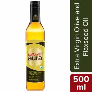 Saffola Aura Extra Virgin Olive and Flaxseed Oil, 500 ml