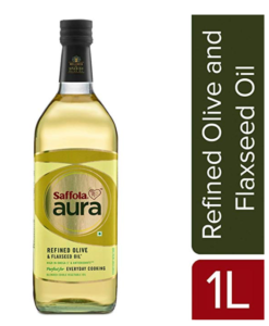 Saffola Aura Refined Olive & Flaxseed Oil, 1 L