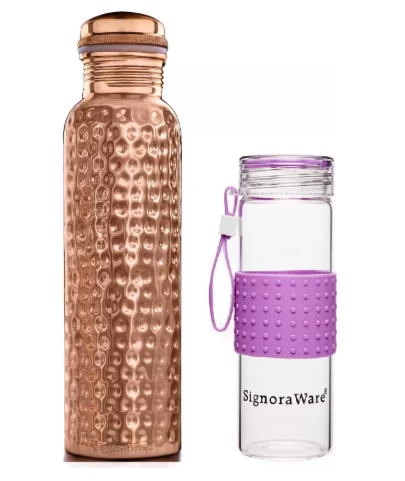 Signoraware Copper Hammered 900+420 1320 ml Bottle (Pack of 2,
