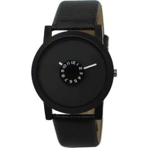 Gujju Rocks Round Dail Black Leather And Synthetic StrapMens Quartz Watch For Men at Rs 99