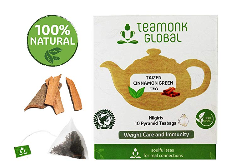 Teamonk Cinnamon Green Tea, Long Leaf 10 Tea Bags