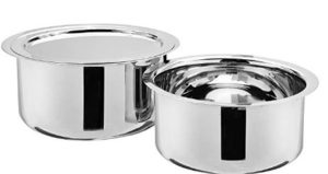 Amazon Brand - Solimo Stainless Steel 2-Piece Tope Set with One Steel Lid