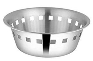 Shri and Sam Stainless Steel Majestic Bread Basket, 20.5cm, Silver