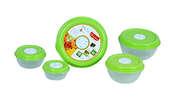 Princeware Fresh Ven Bowl Package Container Set, 5-Pieces, Green