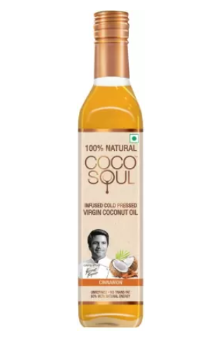 Coco Soul Infused Cold Pressed Virgin Cinnamon Coconut Oil Plastic Bottle  (250 ml)