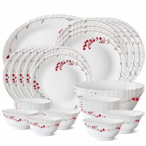 Larah by Borosil Verona Opalware Dinner Set, 27-Pieces, White