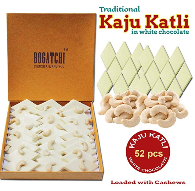 Bogatchi Kaju Barfi White Chocolate, Goodness Milk and Roasted Cashews - Kaju Katli, 52Pcs