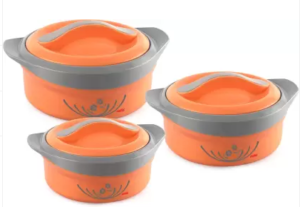 Cello Hot Feast Pack of 3 Thermoware Casserole Set (1500 ml, 1000 ml, 500 ml)