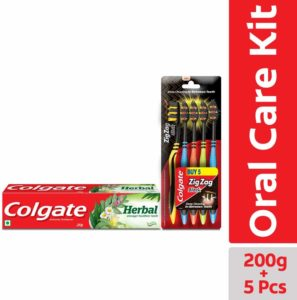 Colgate Herbal Toothpaste 200 g (Pack of 2) with Colgate ZigZag Soft Black Tooth Brush (Pack of 5) rs 128 only