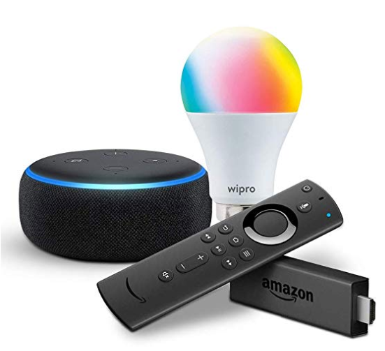Echo Dot (Black) bundle with Fire TV Stick and Wipro 9W smart bulb