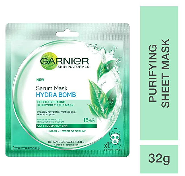 Garnier Skin Naturals, Green Tea, Face Serum Sheet Mask (Green), 32g