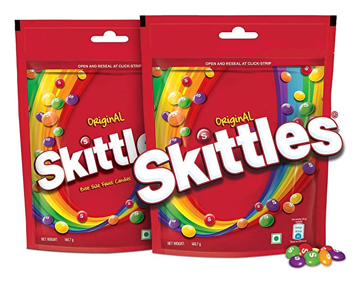 Skittles Bite-Size Fruit Candies Pouch, Original- 140.7g (Pack of 2)