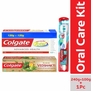 Colgate Total Advanced Health - 240 g with Swarna Vedshakti - 100 g and 360 Whole Mouth Clean Toothbrush