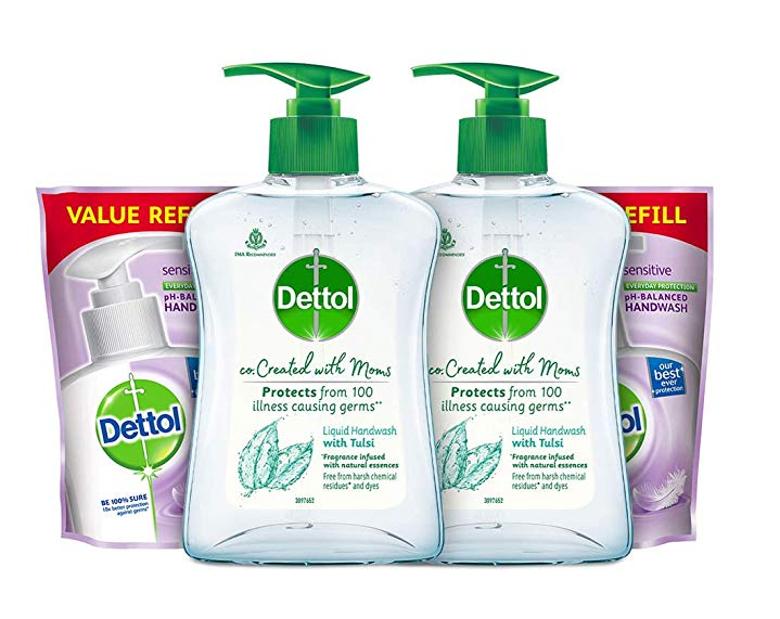 Dettol Tulsi Hand wash Refill and Pump 200ml+175ml, Pack of 2
