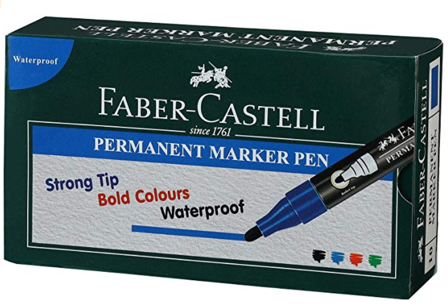 Faber-Castell Permanent Marker Pen - Pack of 10 (Blue)