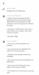 Cred MacBook Pro Offer