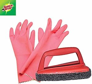 Scotch Brite Fibre Kitchen Gloves Large and Rs 168 amazon dealnloot