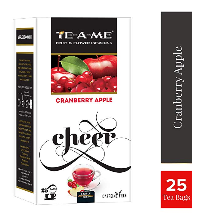 TE-A-ME Cranberry Apple Fruit and Flower Herbal Tea Infusion Pack of 25 Tea Bags