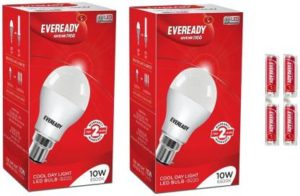Flipkart- Buy Eveready 10W LED Bulb Pack of 2 with Free 4 Batteries at Rs 159