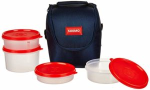Amazon Brand Solimo Plastic Lunch Box with Rs 249 amazon dealnloot