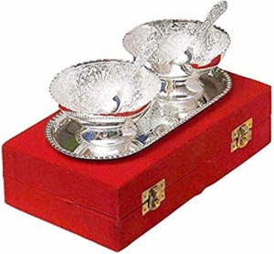 Angelic Brass Bowl with Plate and Spoon Rs 163 amazon dealnloot