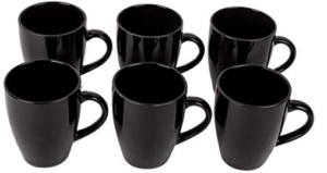 Anwaliya® Opal Series Hand Made Gloss Finish Ceramic Coffee Mugs, 250 ML. (Set of 6 Pcs) (Black)