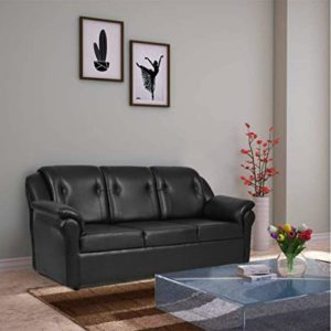 Furny York 3 Seater Leatherette Sofa Black Rs 7259 amazon dealnloot