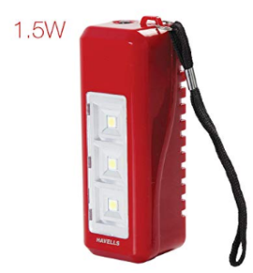 Havells Glanz 1.5-Watt Rechargeable Solar Light (Red)