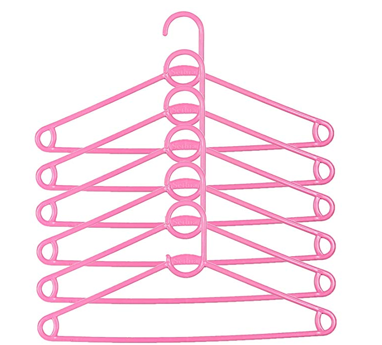 Kuber Industries Silky Hnager Plastic 6 Pieces Hanger Set