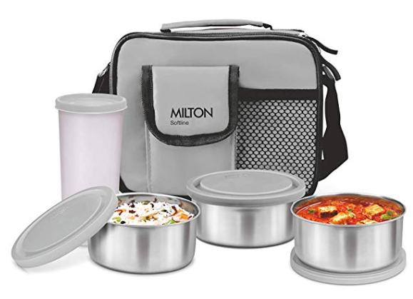 Milton Steel Combi Lunch Box with Tumbler, 4-Pieces, Grey
