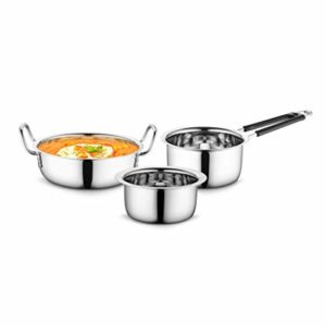 Profusion Stainless Steel Cookware 3 pcs Set Rs 400 amazon dealnloot