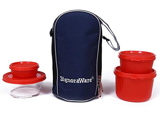 Signoraware Celebrity Lunch Box with Bag, Deep Red