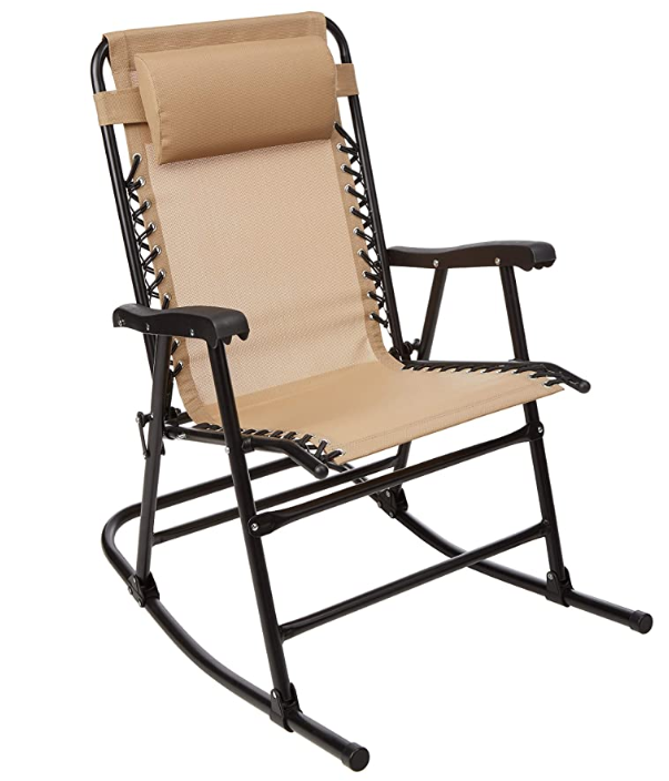 AmazonBasics Outdoor Patio Folding Chair with Manual Rocking, Beige