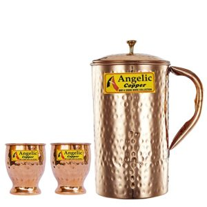 Angelic Copper Hammered Water Jug with Glasses Rs 618 amazon dealnloot