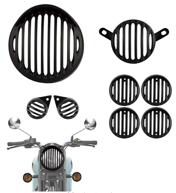 Autofy Plastic Headlight Grill with Cap for Royal Enfield Bullet Classic 350 & 500 (Set of 8)