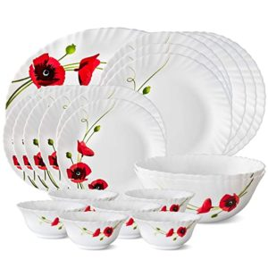 Larah by Borosil Red Carnations Opalware Dinner Rs 1258 amazon dealnloot