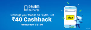 Recharge for Rs 199 or more and get Rs 40 cashback