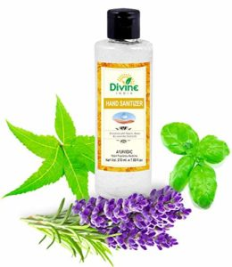Divine India Hand Sanitiser 210 ml Enriched with Neem, Basil Extracts & Lavender Oil