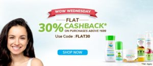Get flat 30% cashback on all orders above Rs 699