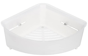 AmazonBasics Corner Shower Basket - White