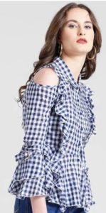 Checked Ruffled Cold-Shoulder Shirt