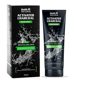 Healthvit Activated Charcoal Facewash 100g Rs 60 amazon dealnloot