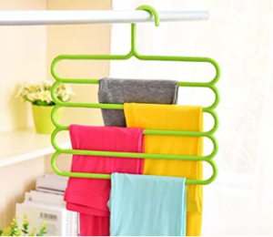 Pindia 1Pc 'S' Plastic Plastic 5 Layer Pant Hanger, Closet Organizer Space Saver Hanger-Random Color